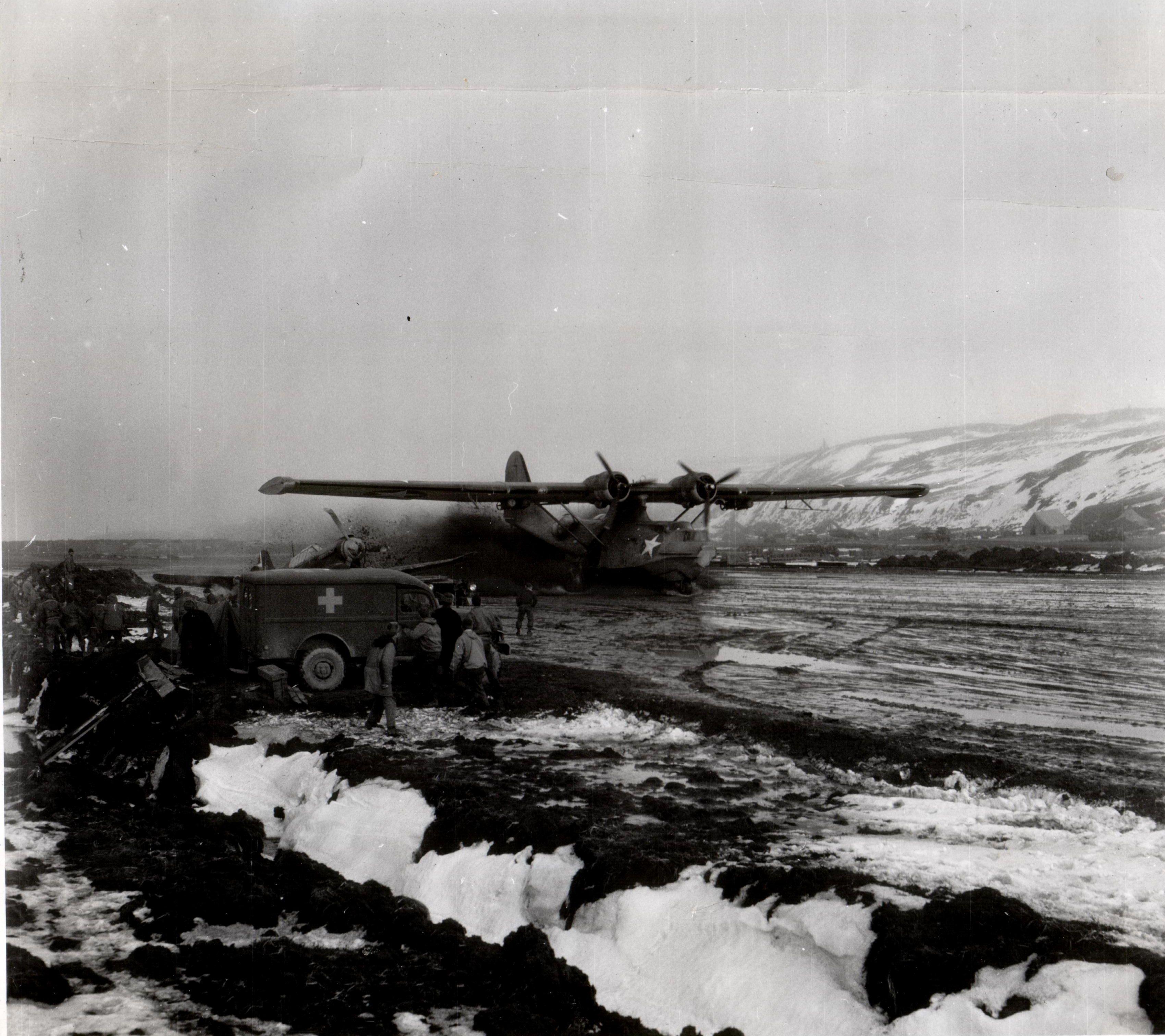 A PBY slinging mud on landing, Aleutian Islands, Alaska
