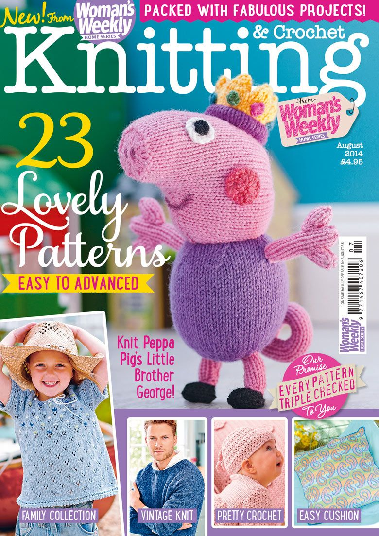"""WW August Knitting and Crochet Magazine, George looks """"smart as a carrot""""!"""