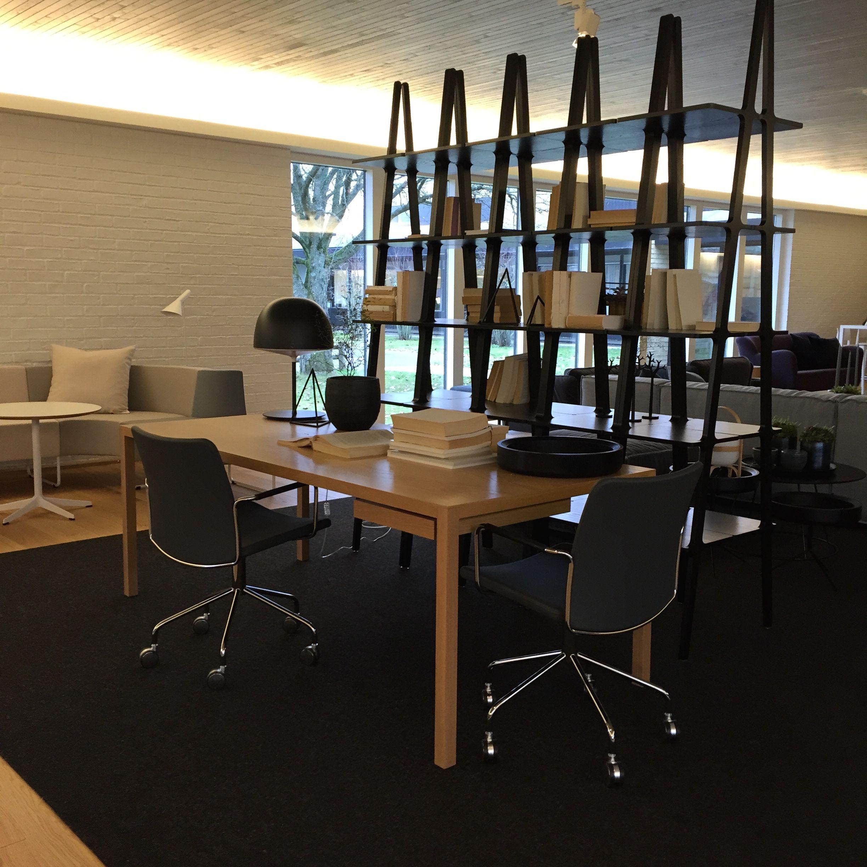 Bespoke table - Roger Persson / Stella chair - Broberg & Ridderståle / Libri Shelf - Michael Bihain  for Swedese