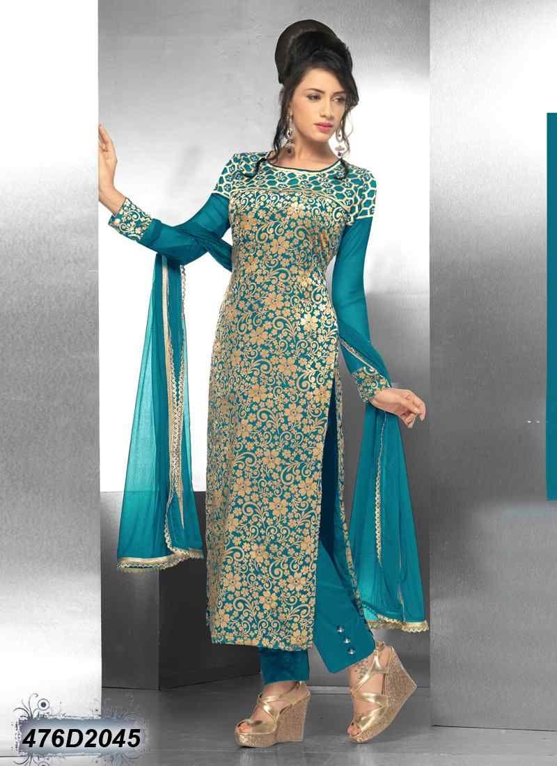 e4b337182e4 Pleasant Blue Coloured Velvet Net Salwar Suit