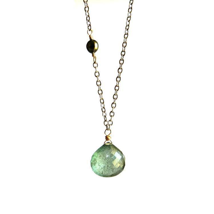 Tahitian keshi black pearl and moss aquamarine necklace   Kahili Creations Handmade Jewelry from Hawaii