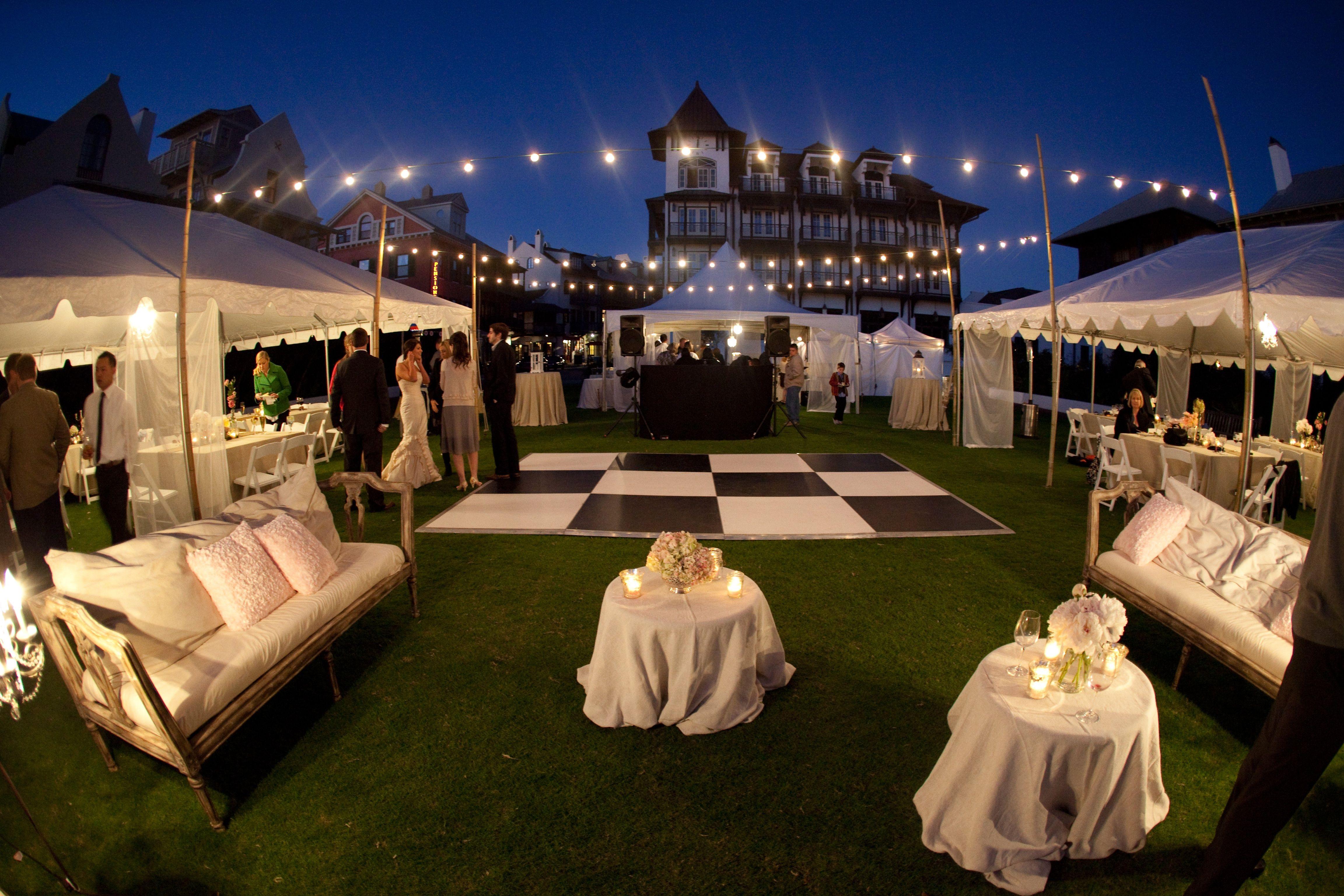Outdoor beach garden wedding burlap string lights