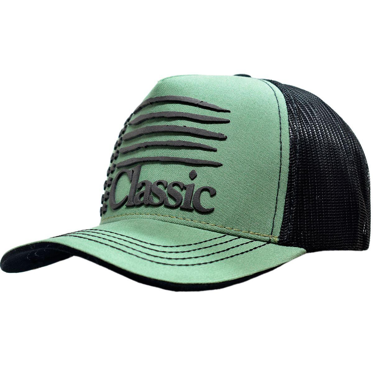 cdb562d24a34a Boné Classic USA com Tela Verde e Preto Boné Classic USA