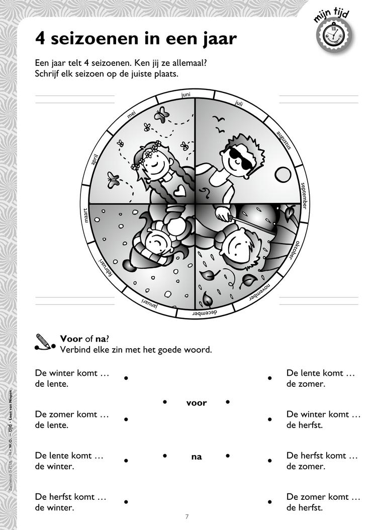 Werkblad 4 seizoenen keireeen Seizoenen, Kalender tijd