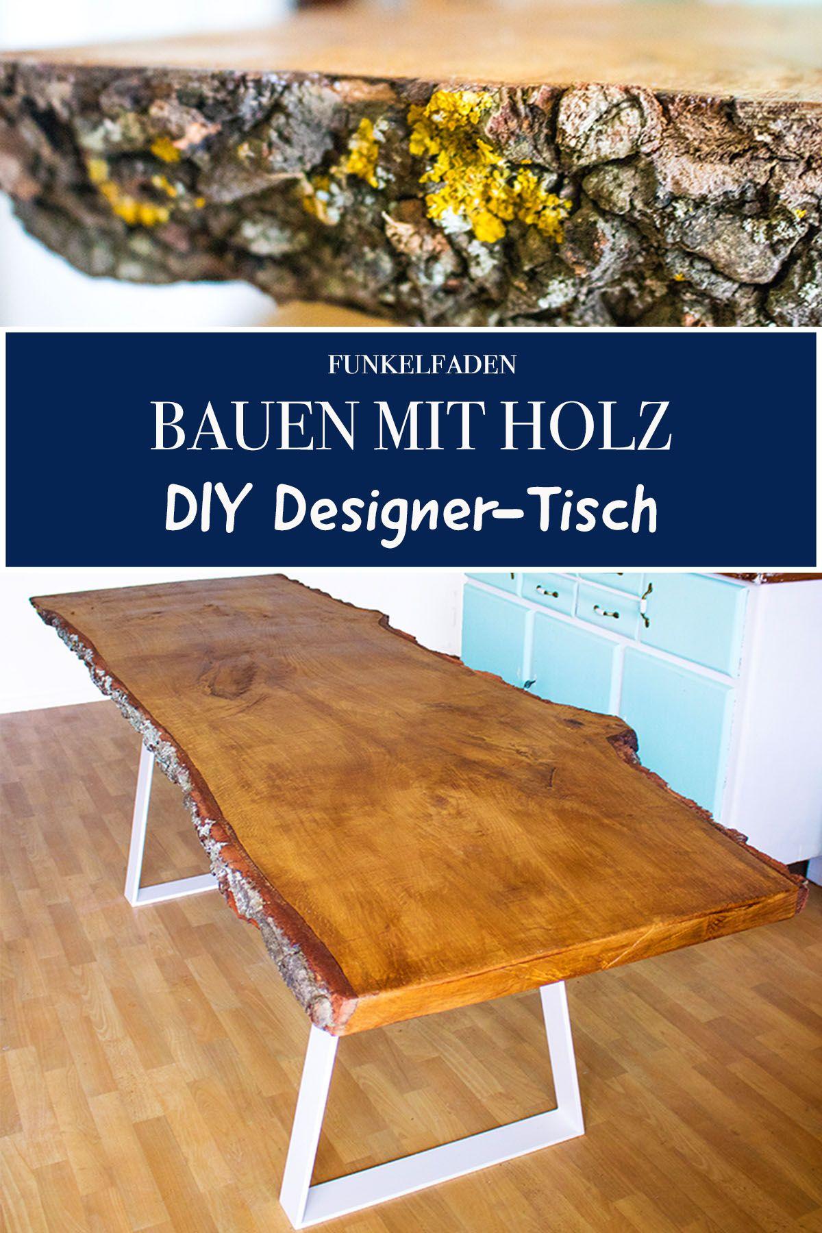 Anleitung - Designer Tisch mit massiver Tischplatte selber bauen