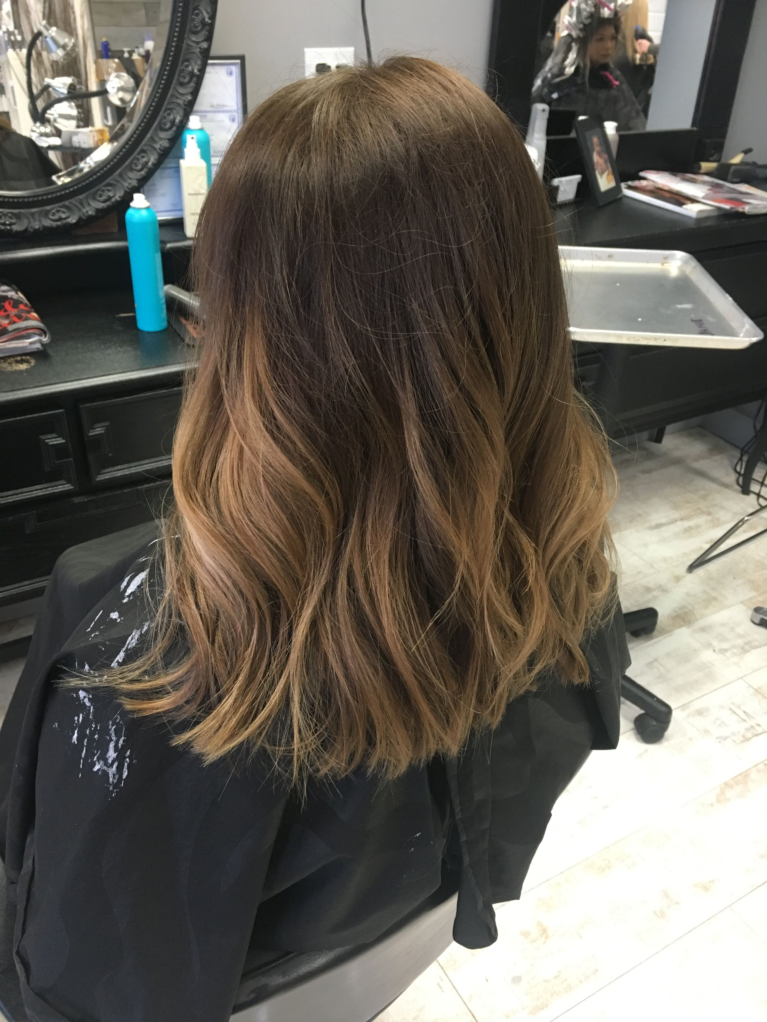 Fresh Roots Using Pravana 6n And Balayage Ombre Glossed With Shades 8n 8v