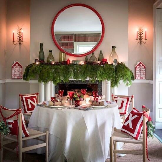 Dining Room Fireplace Decorated For Christmas