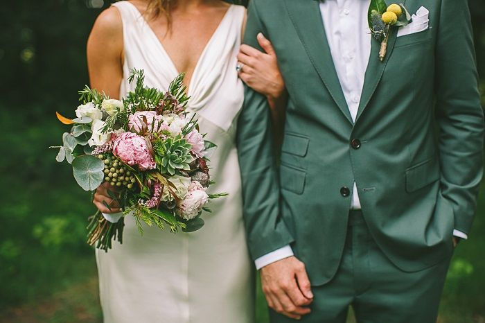 Rebecca Schoneveld wedding dress + Groom in green suit | i take you