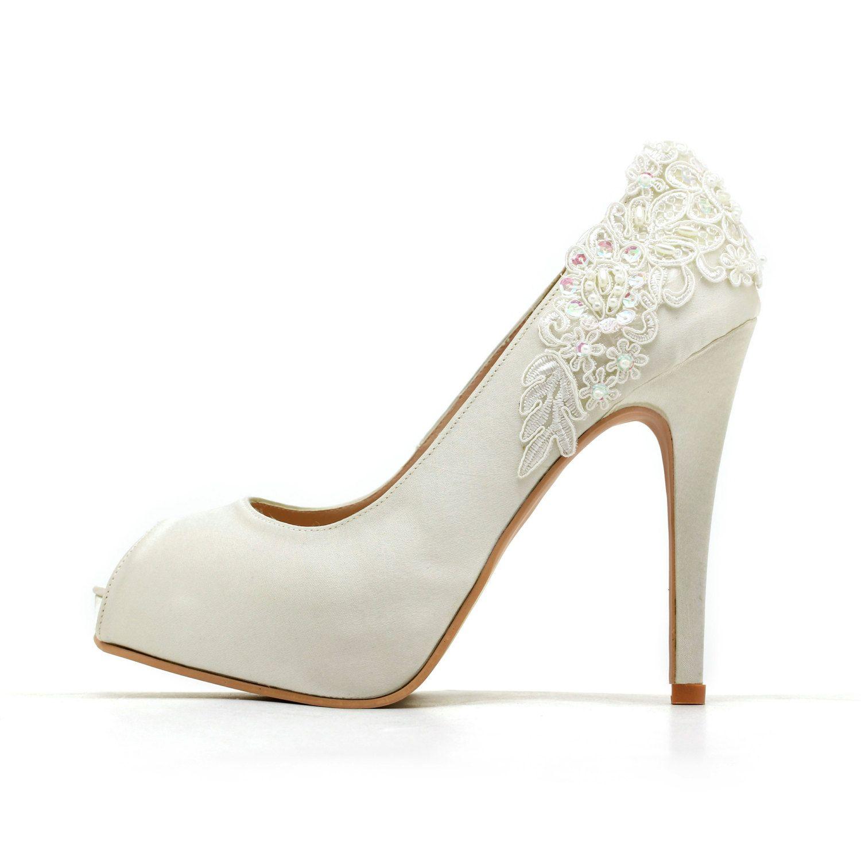 Ivory White Wedding Shoes,Ivory White Bridal Heels,Ivory White Satin ...
