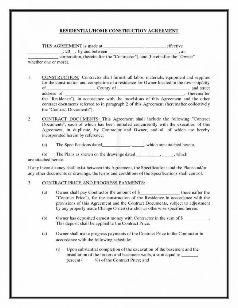 Image result for construction business forms templates business - job agreement contract