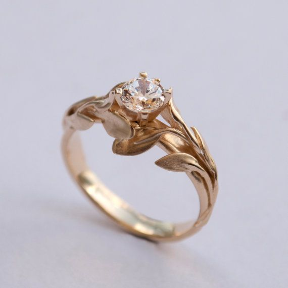 Leaves Engagement Ring 14k Gold And Diamond Engagement Ring Etsy Leaf Engagement Ring Unique Engagement Rings Diamond Engagement Rings