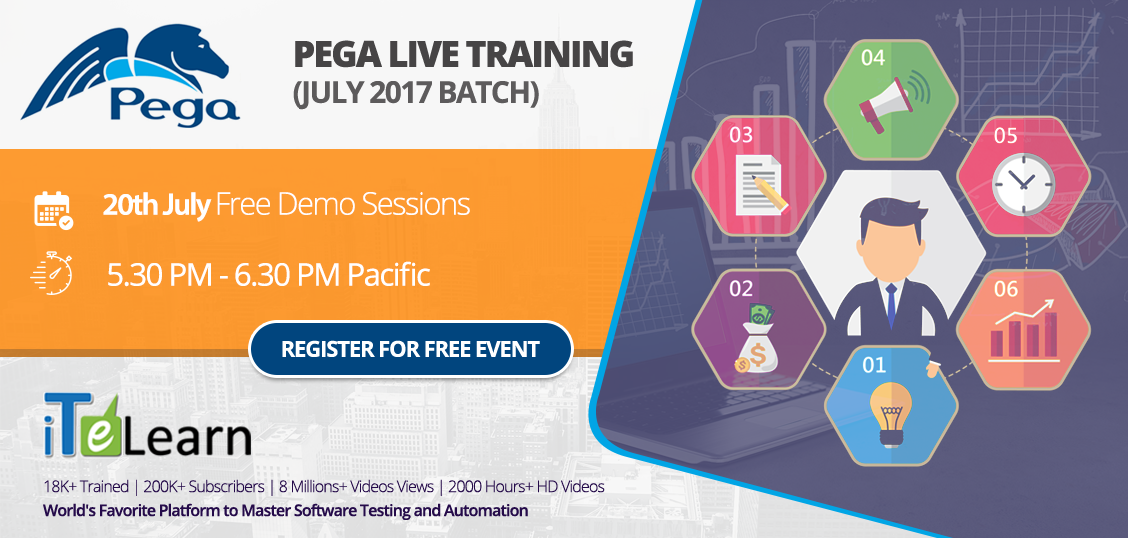 Get hands on #experience on #PEGA and learn how to bridge the gap between your front and back office #operations with a single platform, which will significantly help reduce the enterprise #application development costs. Date & Time: 20th & 24th July at 5.30 PM Pacific/ 21st & 25th July at 6.00 AM IST Join here- http://itelearn.com/PEGA/