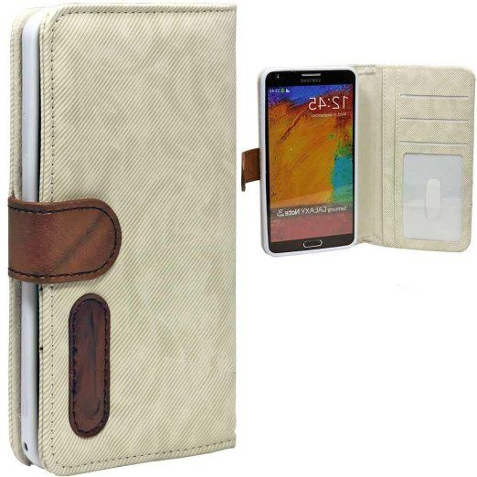 myLife Light Cream {Lined Design} Faux Leather (Card, Cash and ID Holder + Magnetic Closing) Slim Wallet for Galaxy Note 3 Smartphone by Sam...