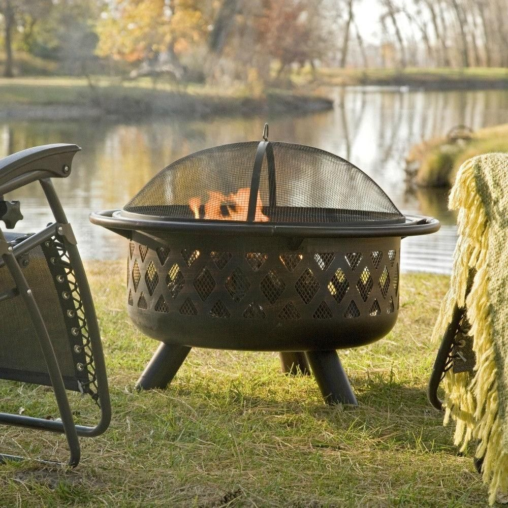 36 Inch Bronze Fire Pit With Grill Grate Spark Screen Cover And Poker Fire Pit Grill Fire Pit Fire Pit Spark Screen