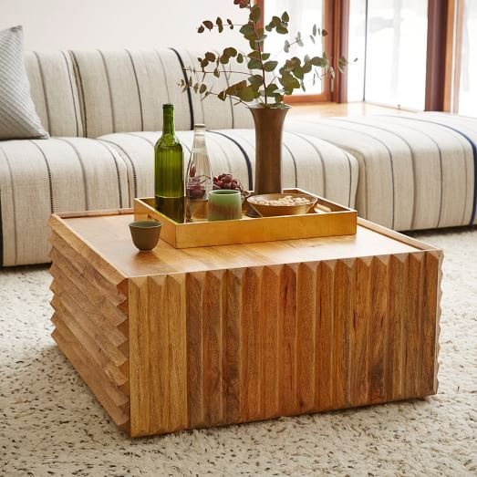 Steven Alan Carved Wood Coffee Table Coffee Table Wood West Elm Coffee Table Living Room Furniture Tables