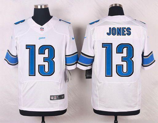 Men s Detroit Lions  13 T. J. Jones White Road NFL Nike Elite Jersey ... fed071466