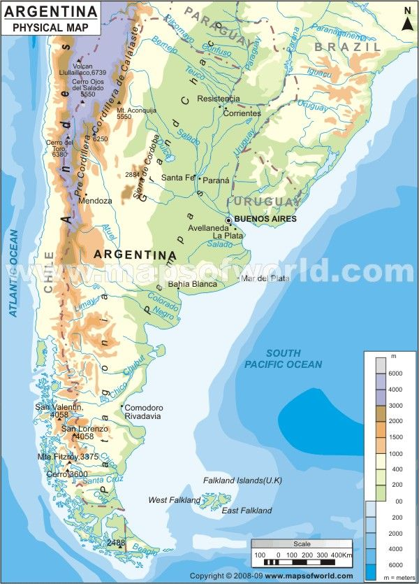 Argentina Physical Map - this web has city maps , geographyical ...