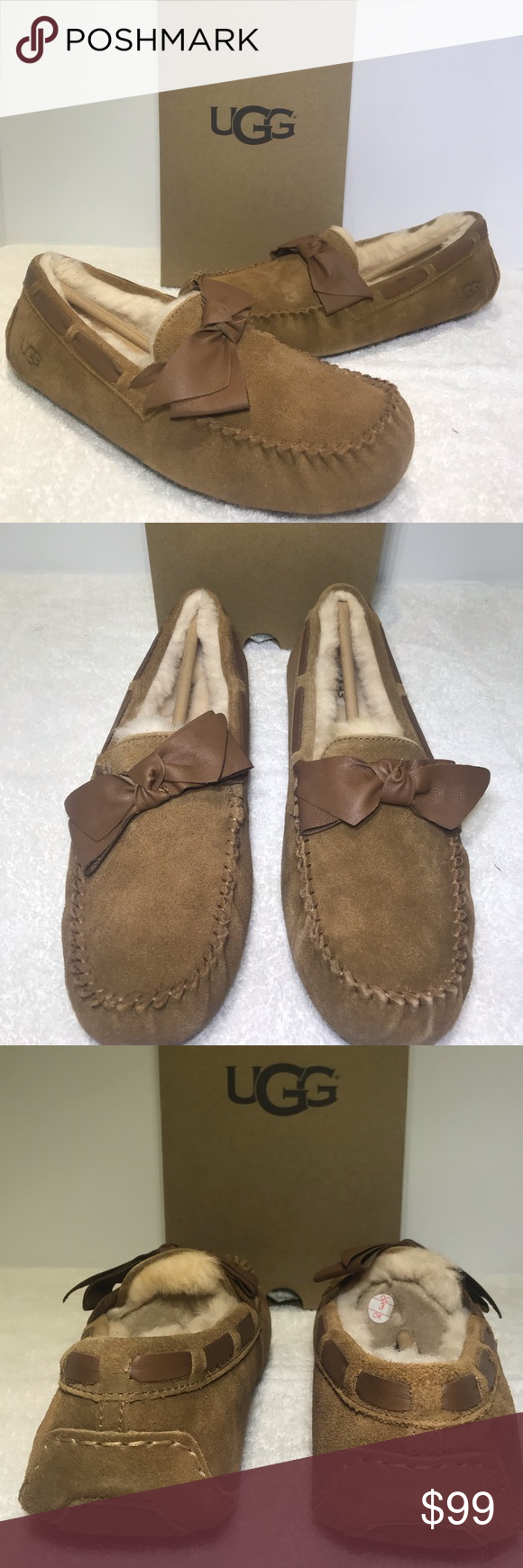 d03c5682e4b UGG Dakota Leather Bow Chestnut Slippers 1020031 UGG Dakota Leather ...