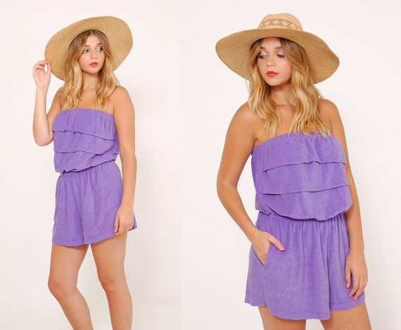 933e2104aa10 Vintage 80s PURPLE Terry Cloth ROMPER Strapless Cover Up by LotusvintageNY   80s  beach  coverup  romper  terrycloth  summer  jumper  hipster  shorts  ...