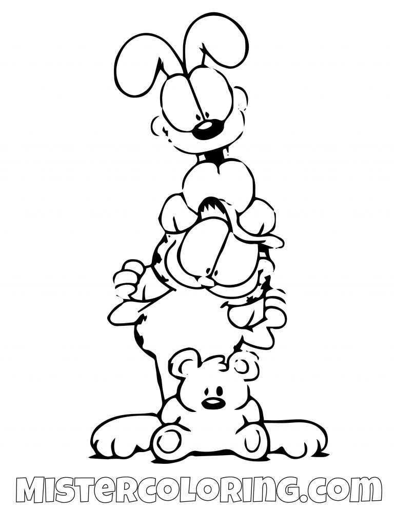 Garfield Odie And Spooky Coloring Page Gaft Coloring Pages