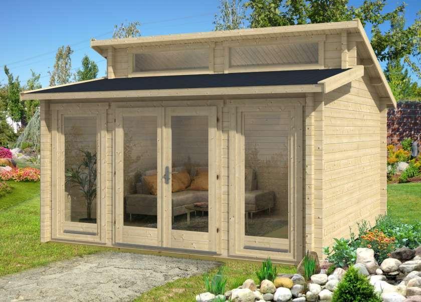 Gartenhaus Lausitz40 ISO mit Anbau Gartenhaus pultdach