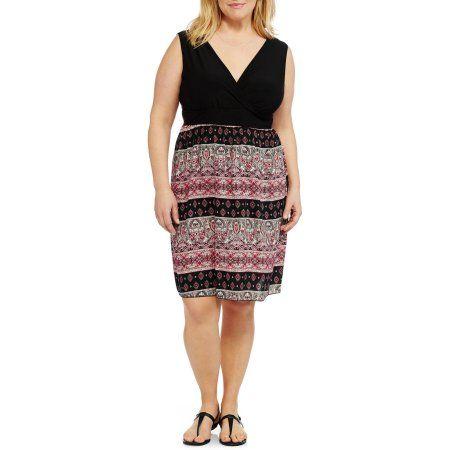 Promises Women's Plus Sleeveless ITY Top/ Challis Print Maxi Skirt Dress, Multicolor