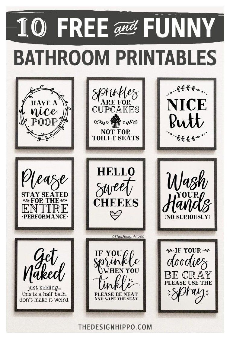 Free Bathroom Decor Printables Set Of 10 Funny Quotes Bathroom Decor Signs White Free Bathroom Decor Pr Bathroom Printables Funny Wall Art Bathroom Humor