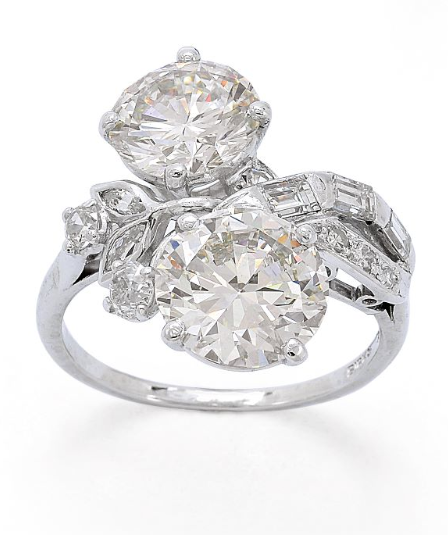 a twinstone diamond and platinum ring birks the toi et moi design with