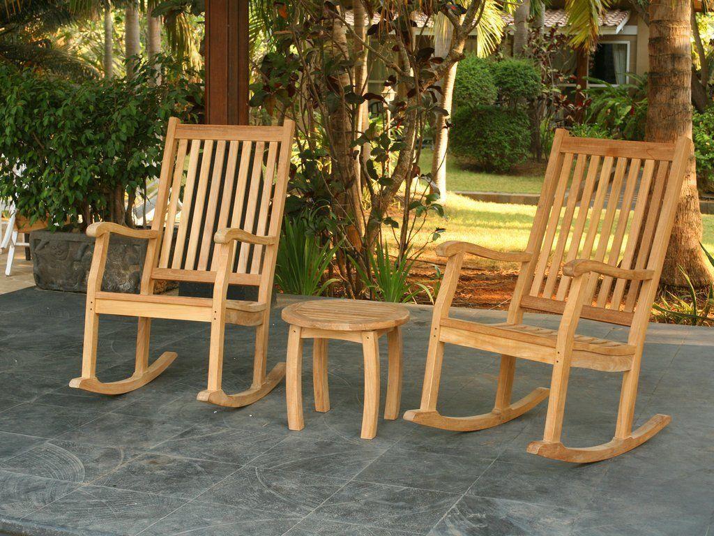 Tortuga Outdoor Jakarta Teak Rocking Chair Set Teak