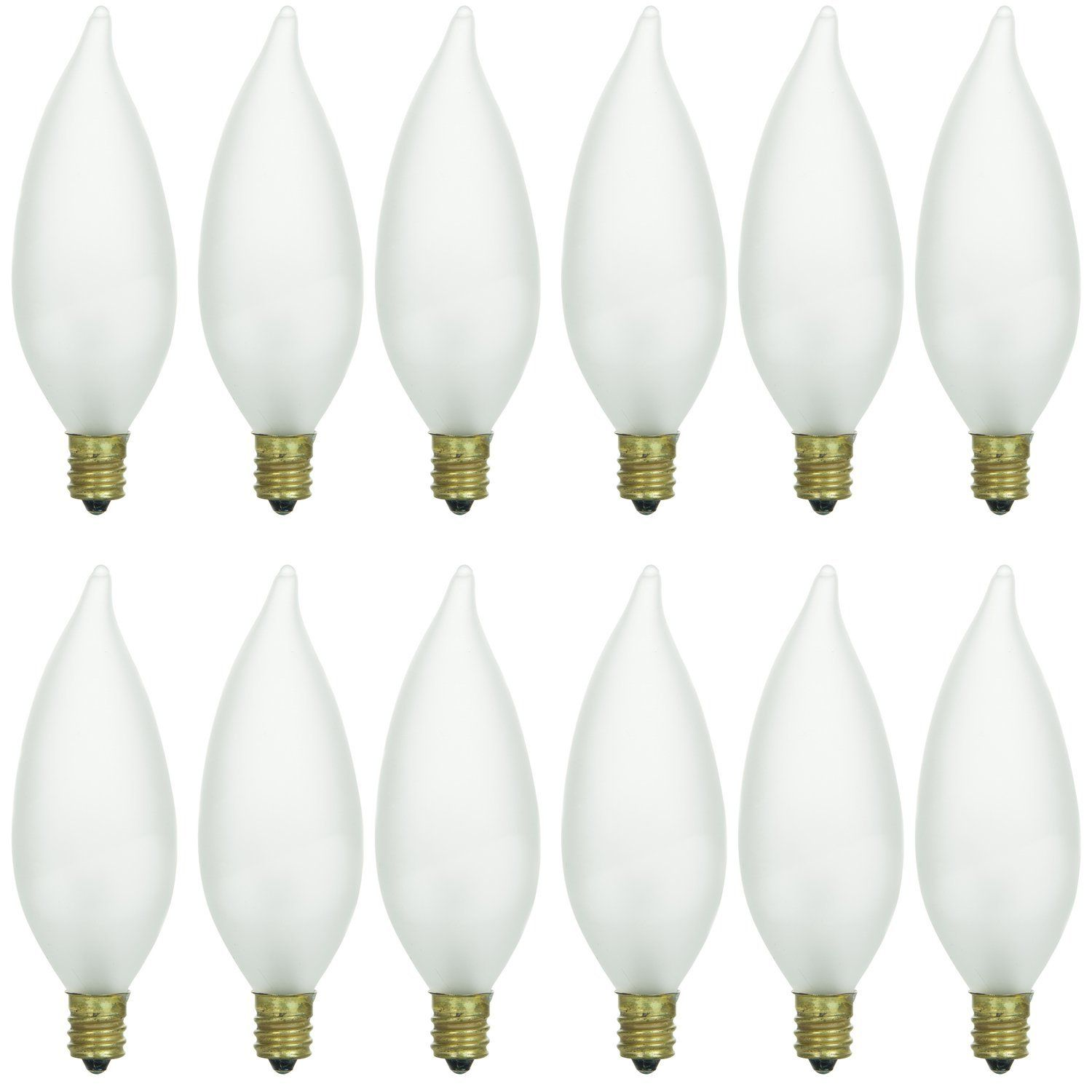 Sunlite 60cff 32 12pk Candelabra E12 Base Flame Tip 60w Incandescent Chandelier Frosted Bulb 12 Pack Light Bulb Candle Chandelier Decor Chandelier Lighting