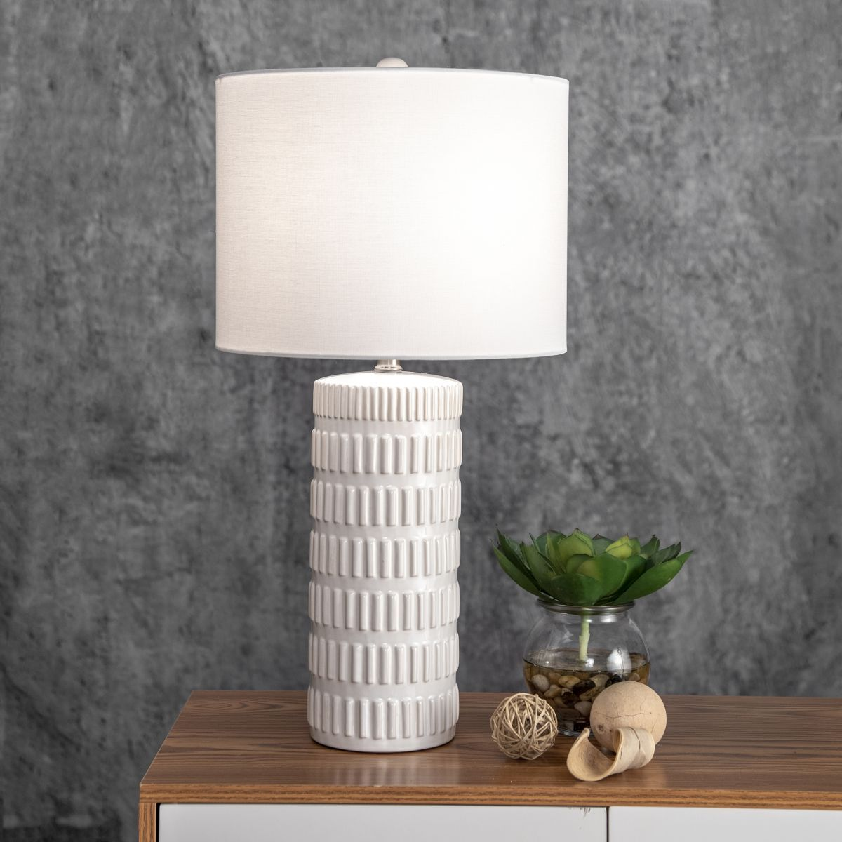 Alva 25 Inch Tangela Ridged Ceramic Table Lamp White Lamp In 2020 Ceramic Table Lamps Table Lamp Ceramic Table