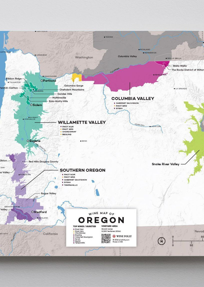 map of oregon wineries Usa Oregon Wine Map Wine Map Oregon Wine Wine Region Map map of oregon wineries