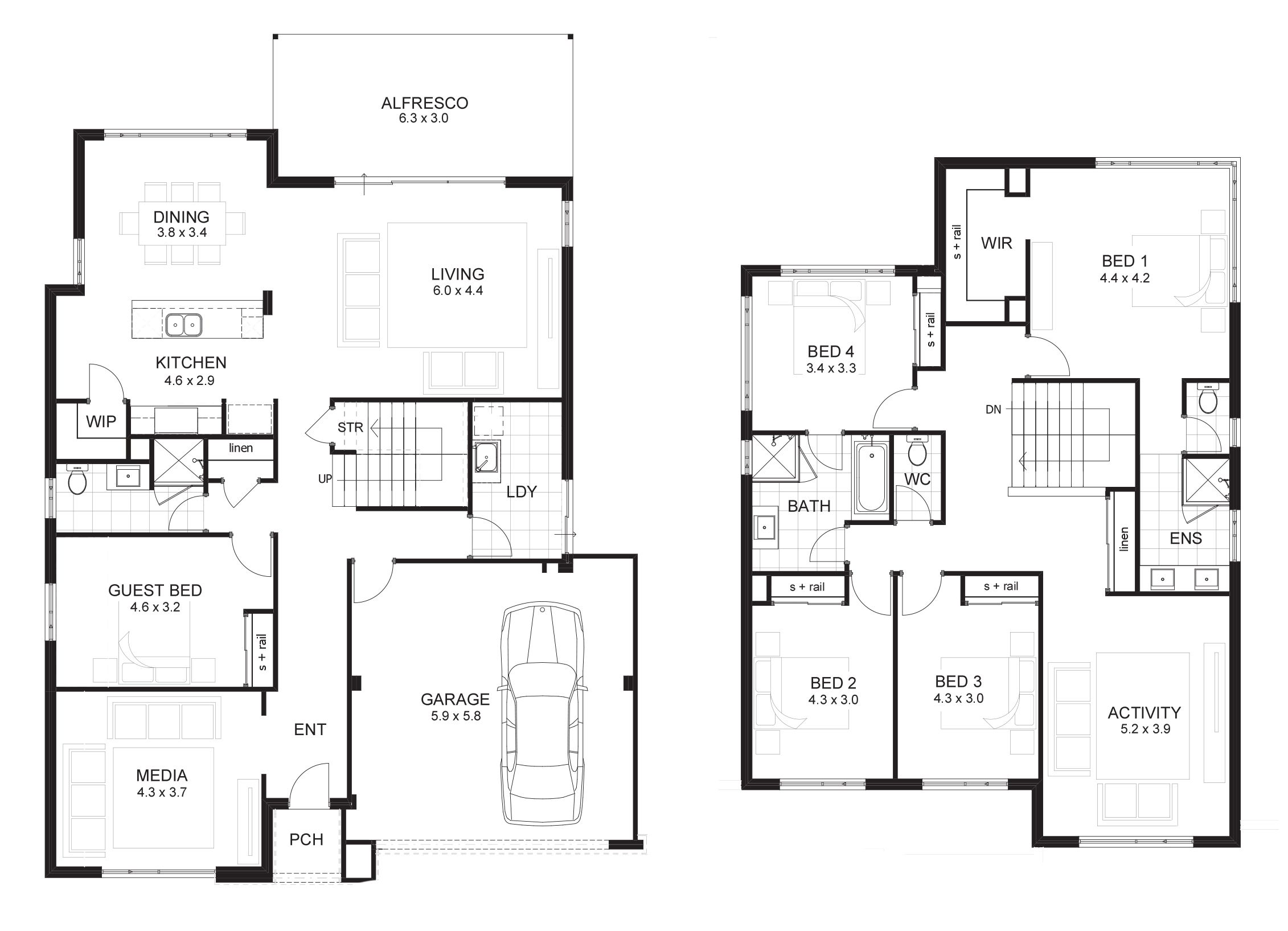 6 bedroom house plans perth pinterest for Two storey house plans with 4 bedrooms