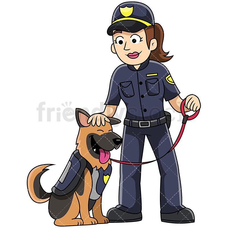 K9 Female Police Officer Petting Dog Vector Cartoon Clipart | Pinterest
