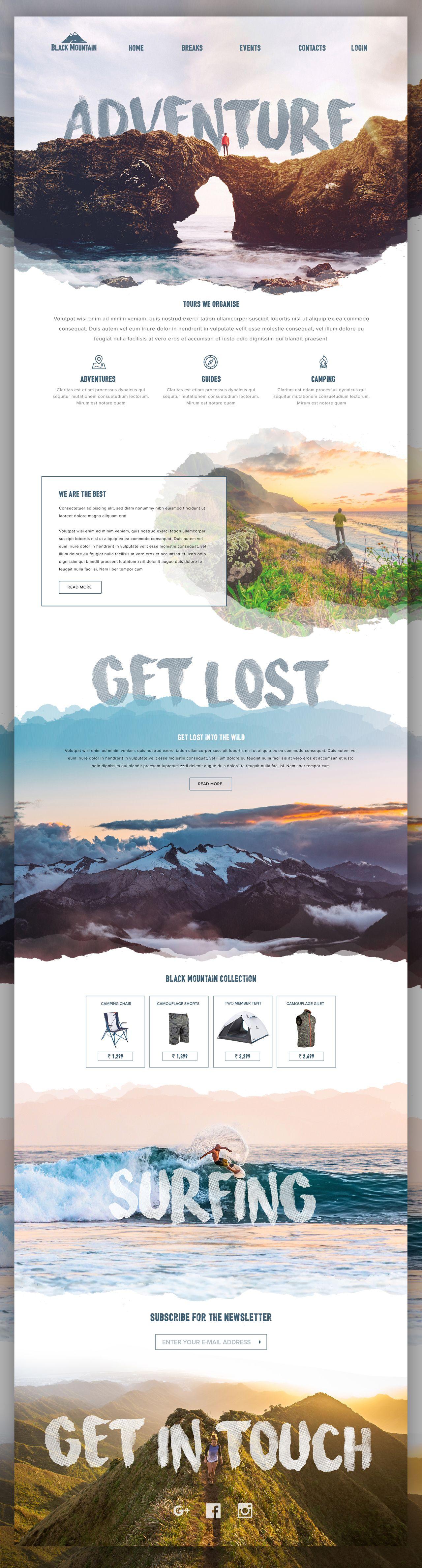 LP adventure 旅行 アクティブ webデザイン