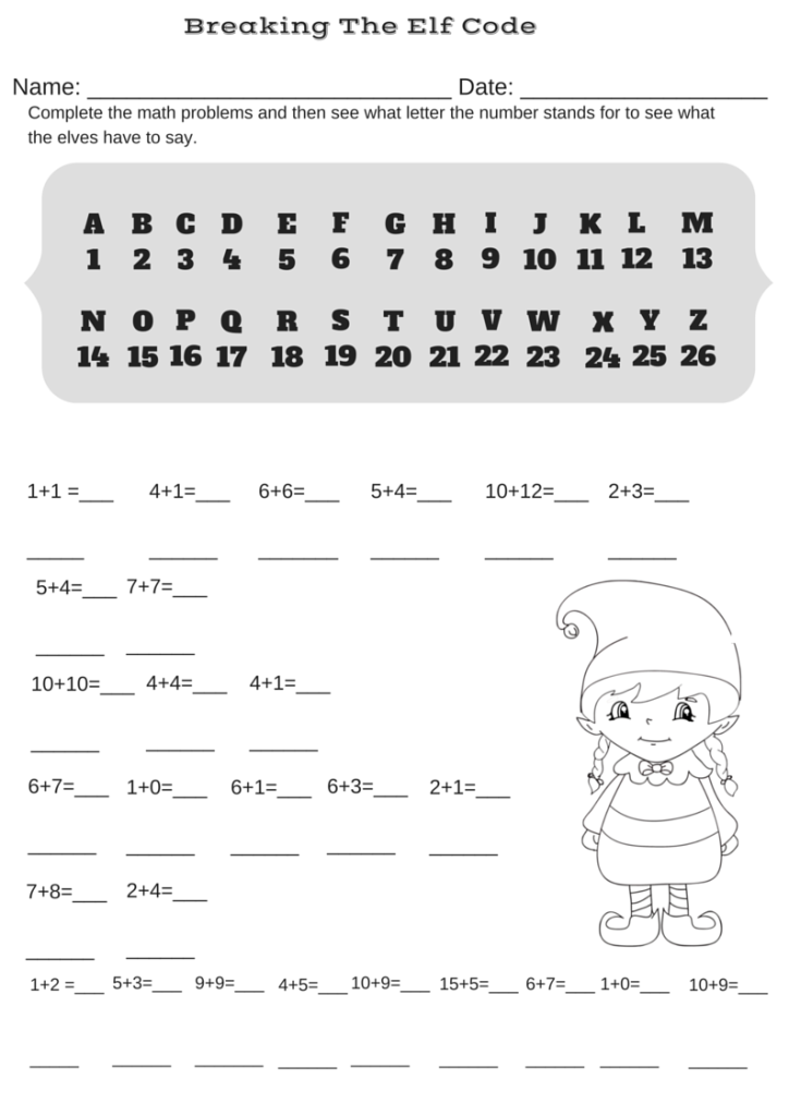 addition christmas code breaker worksheet break the elf code math printables pinterest. Black Bedroom Furniture Sets. Home Design Ideas