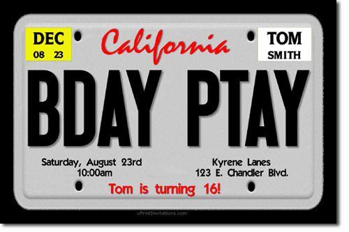 License Plate Invitation Birthdaysdurban Boy 16th Birthday