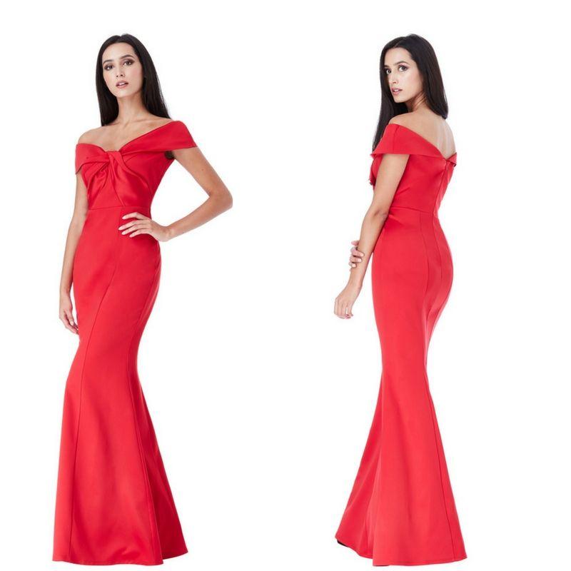 Elegante abito lungo rosso fuoco a sirena Taglia s m https   www 9d74943db7f