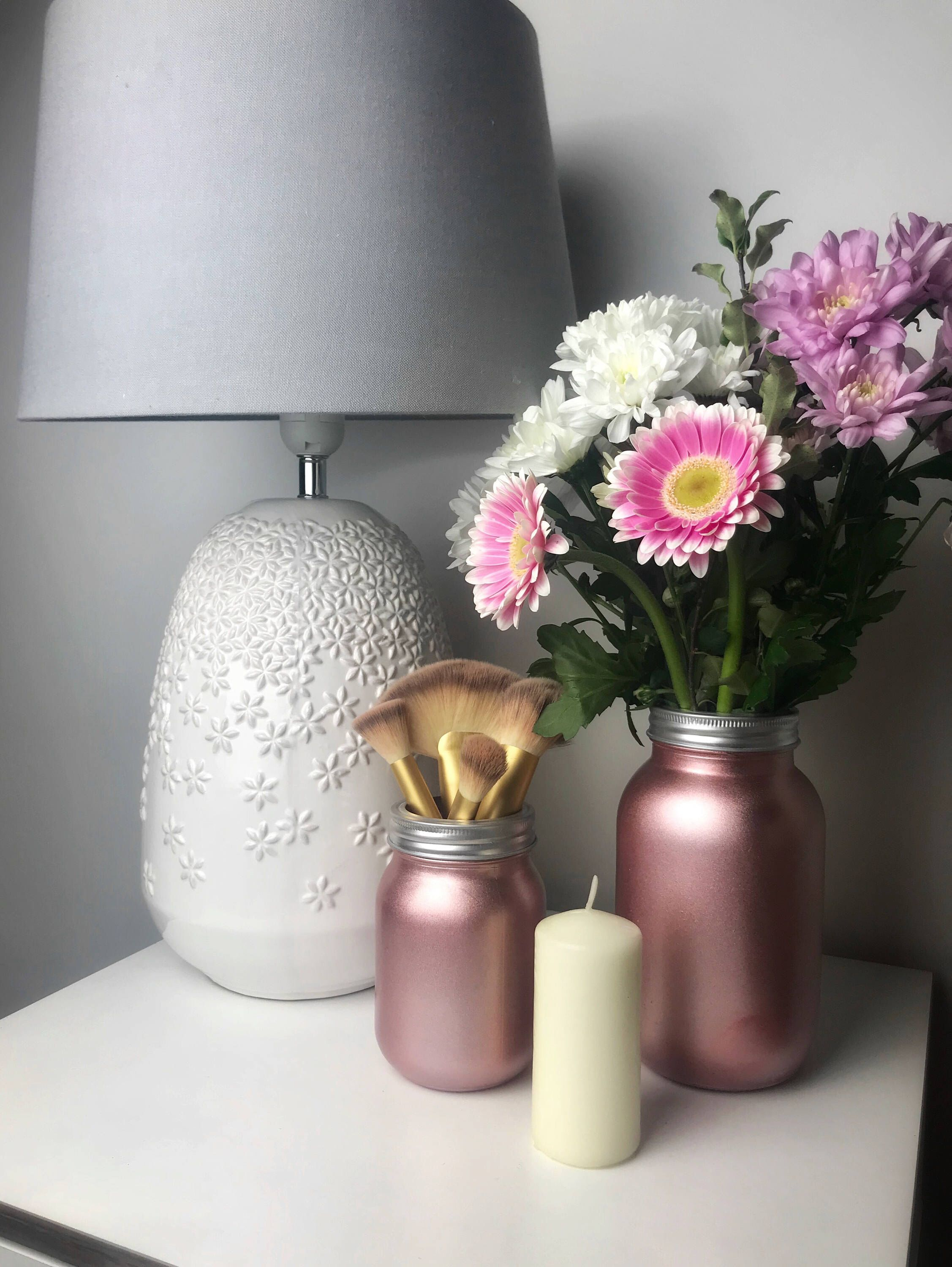 Rose Gold Mason Jar Make up Brush Holder Makeup