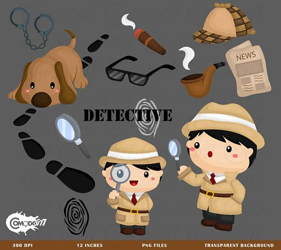 This listing is for 16 cute detective design elements. This digital clipart set is perfect for use in greeting cards, scrapbooking, party invitations, decorations, and more!!  - You will get 16 Digital Clip Art images in PNG format in 12 inches size - High Resolution of 300dpi - Watermark will not be on digital images purchased  *If you need any other format such as ai or eps feel free to send a message and we will be happy to help   TERMS OF USE-  • Commercial Use:  There are two options…