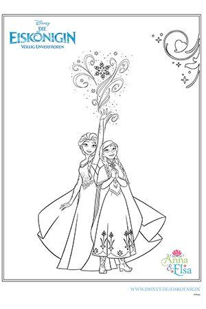 Die Eiskönigin - Malvorlage Anna und Elsa Ausmalbild