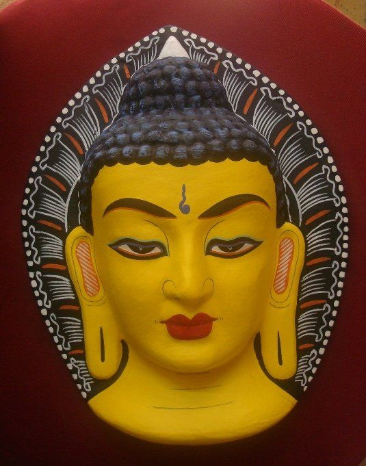 Yellow Buddha Face Wall Hanging Handmade In Nepal Photo, Detailed ...