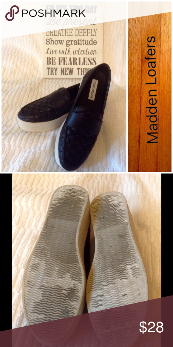 Fun & Funky Madden Loafers/ Final Great pair of chunky loafers with a quilted top. All materials are man made vegan. Excellent condition Steve Madden Shoes Flats & Loafers