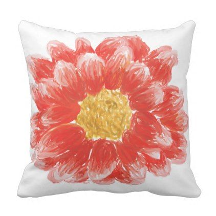 Reversible Pink Oil Painted Flower Throw Pillow Flowers Floral Flower Design Unique Style Throw Pillows Flower Flower Throw Pillows Pillows Floral