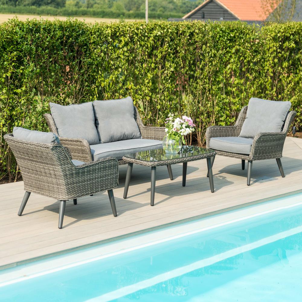 Maze Rattan Florence Garden 2 Seater Sofa Chairs And Table Set In Grey 899 00 Rattan Garden Furniture Sofa Set Luxury Cushions [ 1000 x 1000 Pixel ]