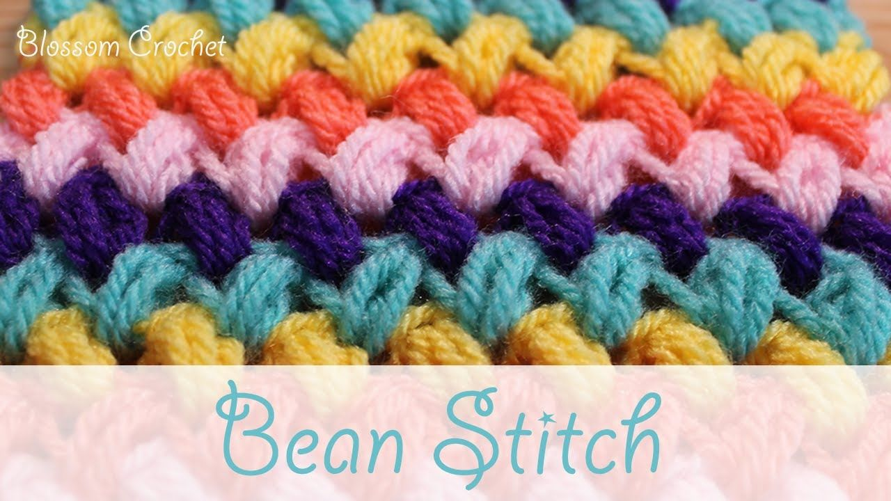 Super easy crochet: Bean Stitch / Puff Stitch - YouTube | Crochet ...