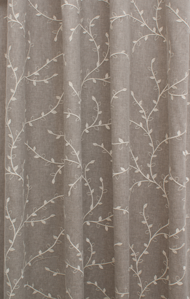 Sprig Leaf Embroidered Taupe Fabric Curtains Uk Curtain Designs