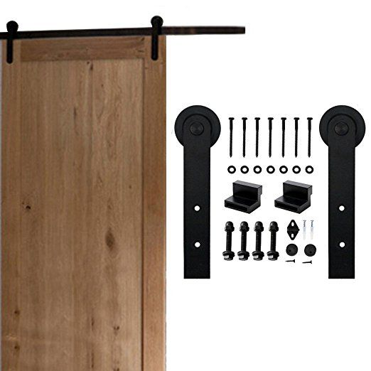 Amazon Com Homedeco Hardware 5 16 Ft Rustic Sliding Barn Door Hardware Soft Close Roller Track Kit Soft Off Us 7 5ft Si Door Hardware Commercial Door Hardware