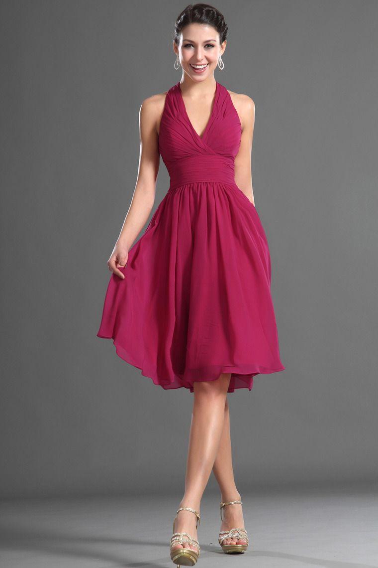 2014 Halter A Line Prom Dress Pleated Bodice Knee Length Chiffon USD 109.99 VUPQE443X4 - VoguePromDressesUK