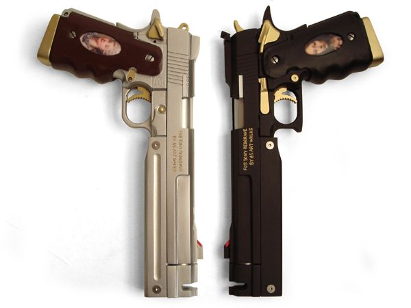 Ebony and ivory pistols